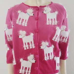 pink cardigan cotton sweater 19 white poodles S